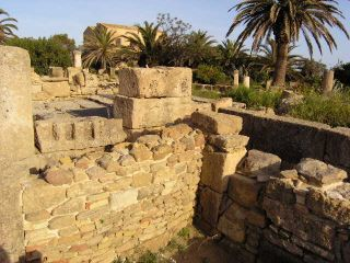 Part of the urban grid dell'acropoli of Selinunte, highlighted the walls of ancient dwellings selinuntine.
