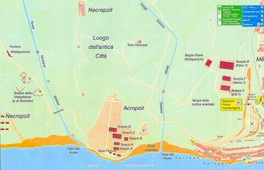 Street map with the Archaeological Park and the provision of the Temples of Selinunte.