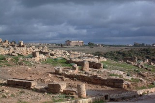 Panoramic View of the hill east with the temple of Hera in the background